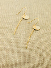Load image into Gallery viewer, Gold Disc with Dangle Chain Earrings - Links and Locks Designs