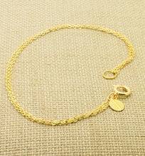 Load image into Gallery viewer, Gold Double Chain Anklet with Mini Leaf Charm