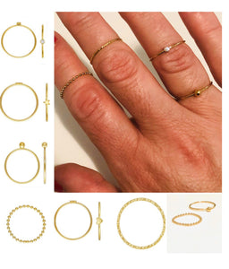 *Stacking Rings - Gold Sterling  - Angel Wing Ring