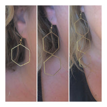 Load image into Gallery viewer, Gold Triple Honeybomb Earrings