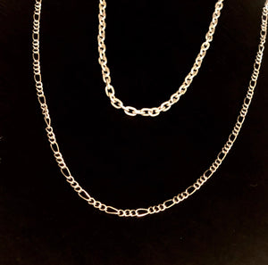 Simple Silver Figaro Layering Chain Necklace