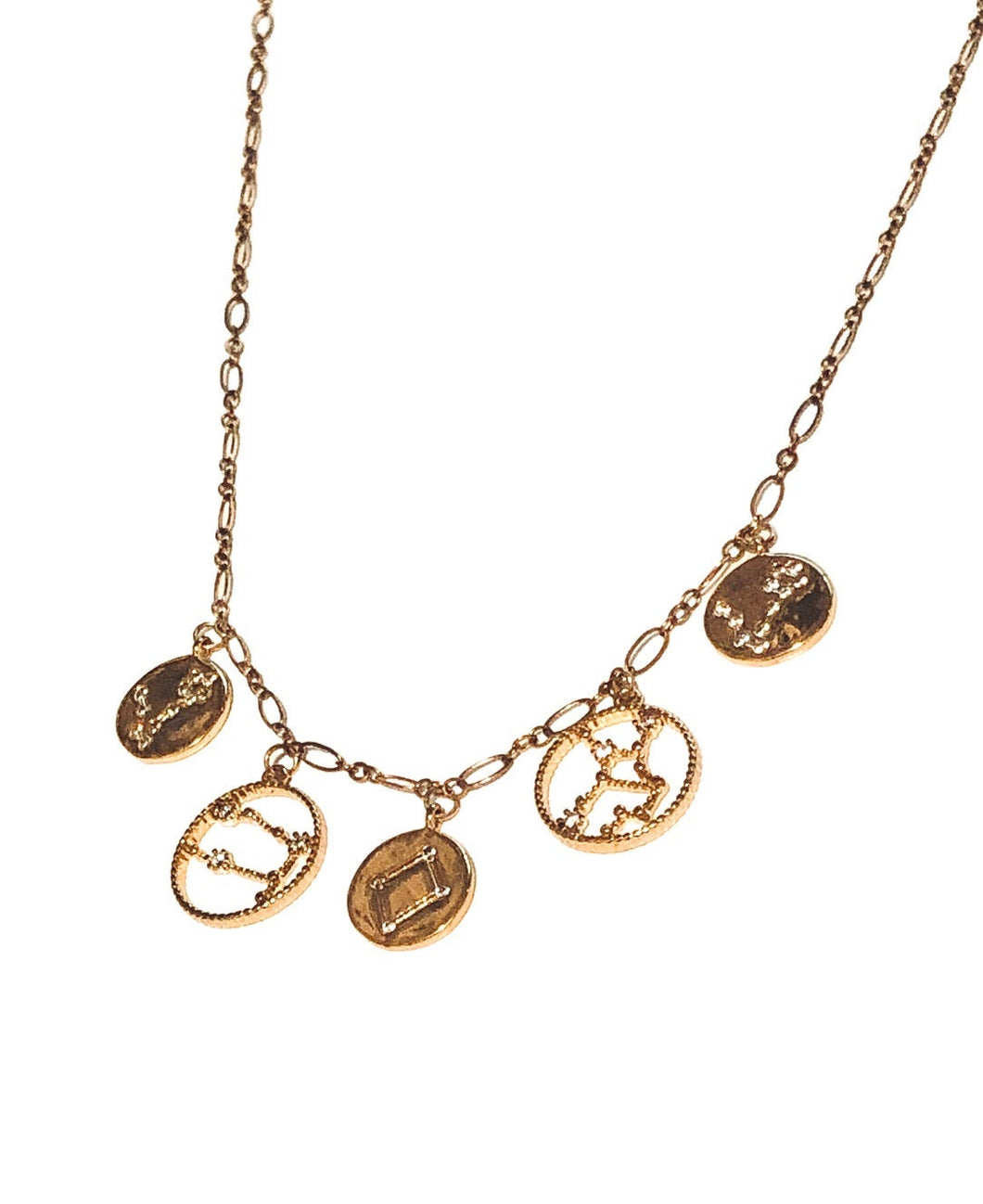 Zodiac Coin Charm Necklace