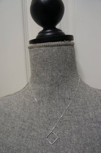 Sterling Silver Diamond Square Simple Stunning Necklace