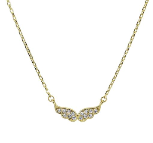 Real 10KT Gold CZ Angel Wings Necklace