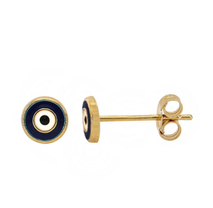 Real 10KT Gold EVIL EYE Stud Earrings