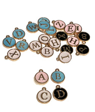 Load image into Gallery viewer, Add On - Enamel Letter Charms - Pink or Blue - for collars or necklaces
