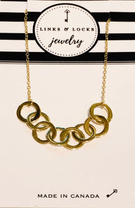 Gold Sterling Silver Interlocking Rings Necklace