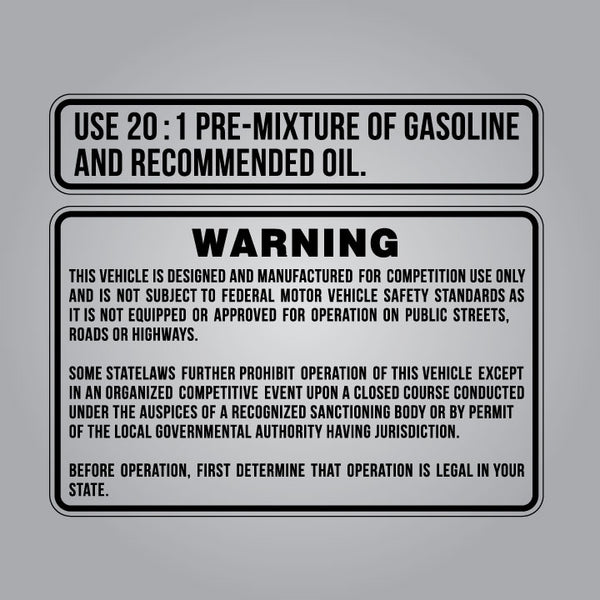 76-78 Suzuki RM Tank Warning and Premix Decal Sticker Sheet