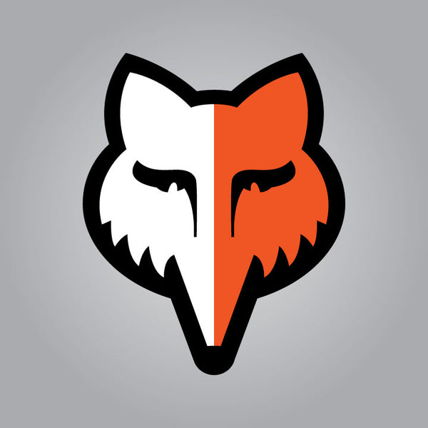 Fox Head Decal - Small Orange and White