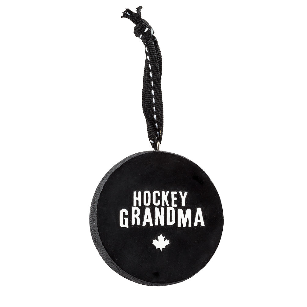 Slogan Hockey Puck Ornament - Hockey Grandma