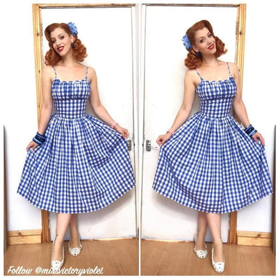 Grace Dress Morocco Blues 1/2 inch Checkered Gingham