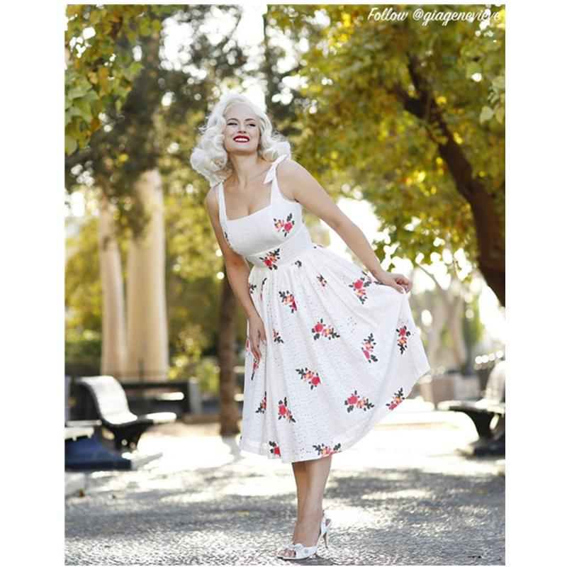 "Gilda Dress White ""Where the Wild Flowers Grow"" Eyelet Embroidered Floral"