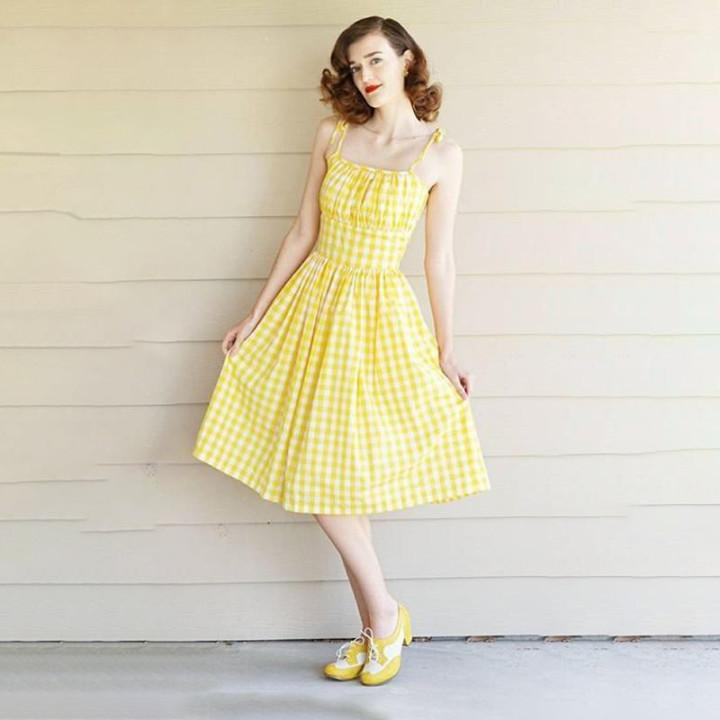 Yellow Checkered Gingham Dress