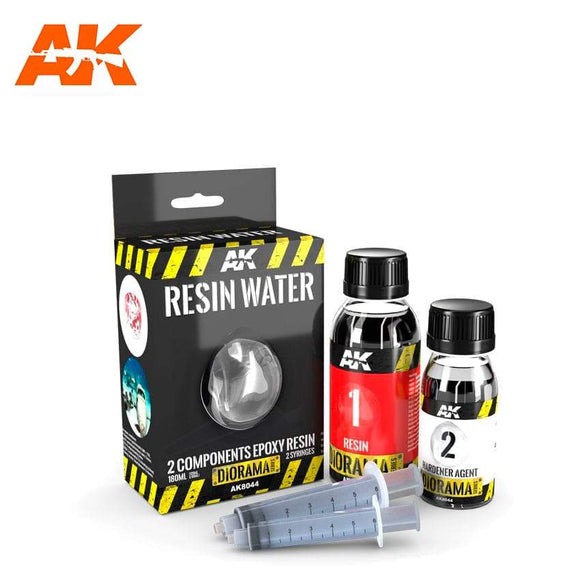 AK-8044 Resin Water 2-Components Epoxy Resin - 180Ml Diorama effects AK Interactive