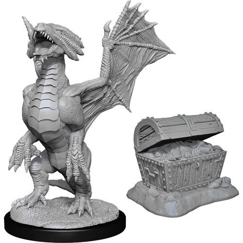 Bronze Dragon Wyrmling & Pile of Sea found Treasure D&D RPG Miniatures Wizkids