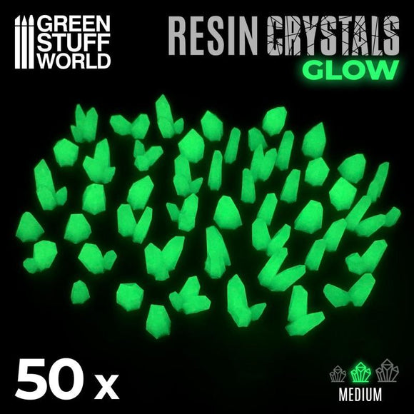 GSW GREEN GLOW Resin Crystals - Small Crystals Green Stuff World