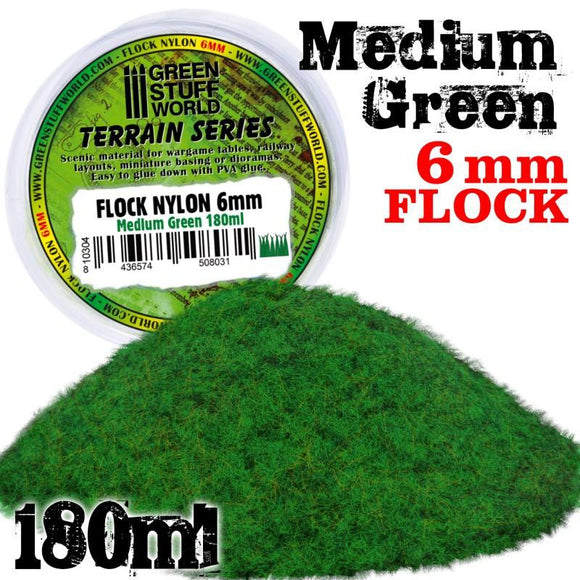 GSW Static Grass Flock 6 mm - Medium Green 180 ml Flock Green Stuff World
