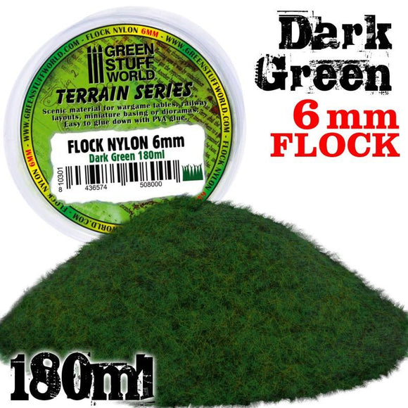GSW Static Grass Flock 6mm Dark Green 180 ml Flock Green Stuff World