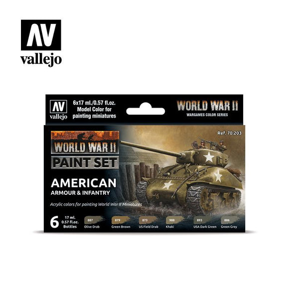 WWII American Armour & Infantry Set Paint Sets Vallejo