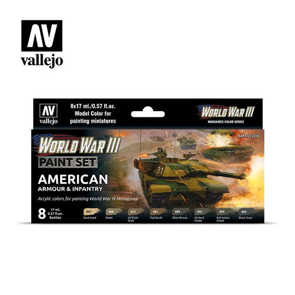 WWIII American Armour & Infantry Set Paint Sets Vallejo