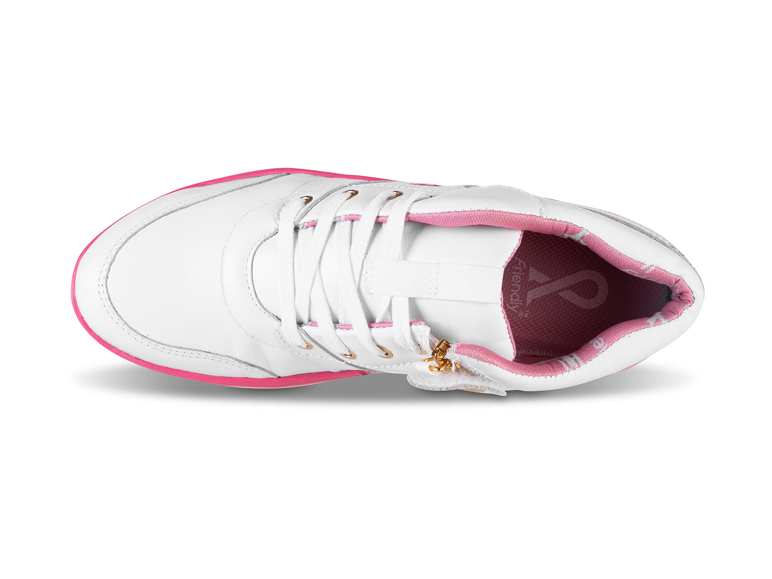 Women's Medimoto White & Pink Leather Shoe