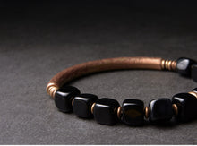 Load image into Gallery viewer, Pure Copper Bracelet With Cubic Obsidian Stones