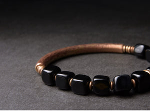 Pure Copper Bracelet With Cubic Obsidian Stones