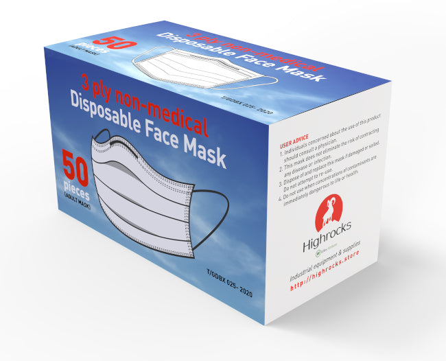 3 ply disposable mask (box of 50) $1.40 per mask ex gst