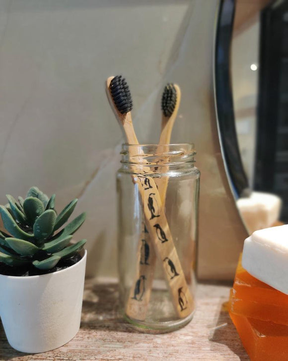 Eco-Friendly Bamboo Toothbrush with Charcoal Bristles - Set of 2
