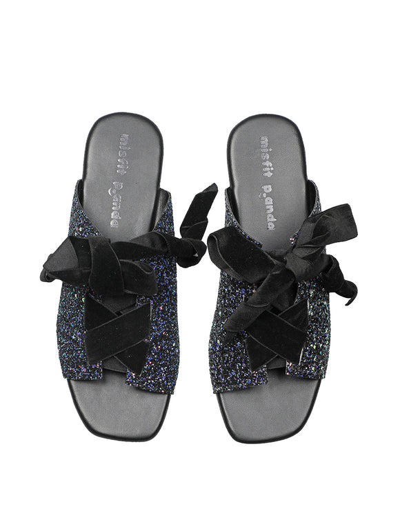 Ribbon Tie sandals black