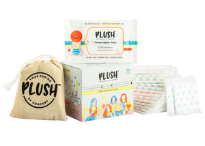 Plush Perfect 100% Pure US Cotton 14 Ultra-Thin Pads & 5 wipes