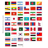 World Flag Flash Cards 56 Cards Set 1