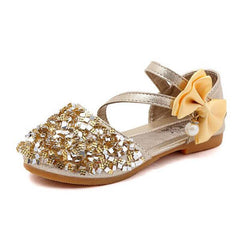 Casual Princess Flat Heel Party Shoes Fashion Sequins Bow Pearl Shoes For Girls