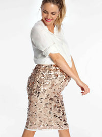 Sparkly Champagne Maternity Sequin Skirt