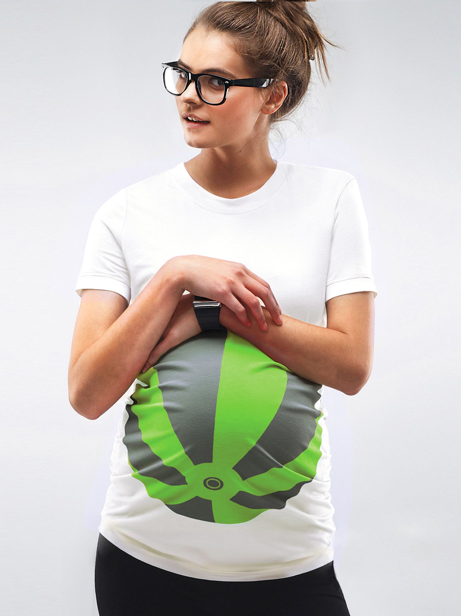 Neon Green Beachball Maternity T-shirt