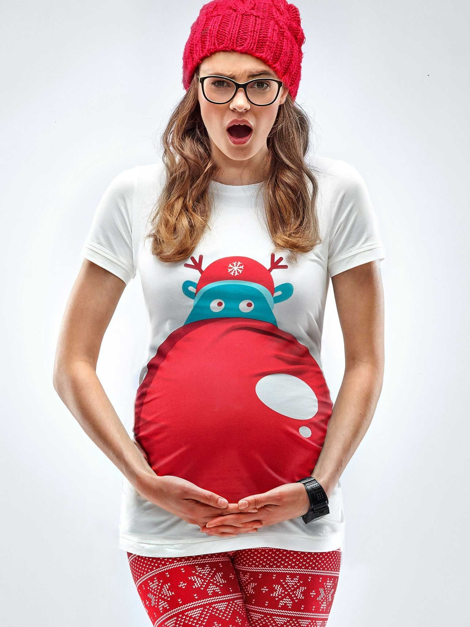 Maternity Christmas Shirt.Rudolph S Nose Maternity Christmas T Shirt