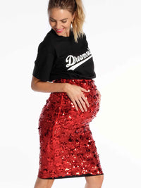 Sparkly Red Maternity Sequin Skirt