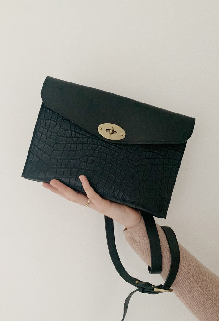 Black Leather Croc Crossbody Bag - Noted x Williams