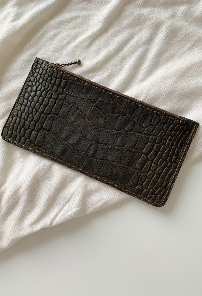 Green Croc Zip Purse - Noted x Williams