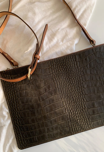 Green Croc and Tan Clutch Bag with Detachable Strap - Noted x Williams