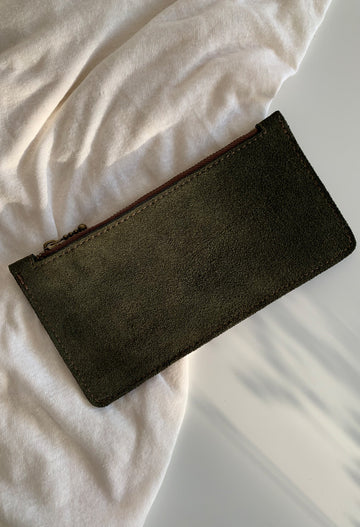 Green Suede Zip Purse - Noted x Williams