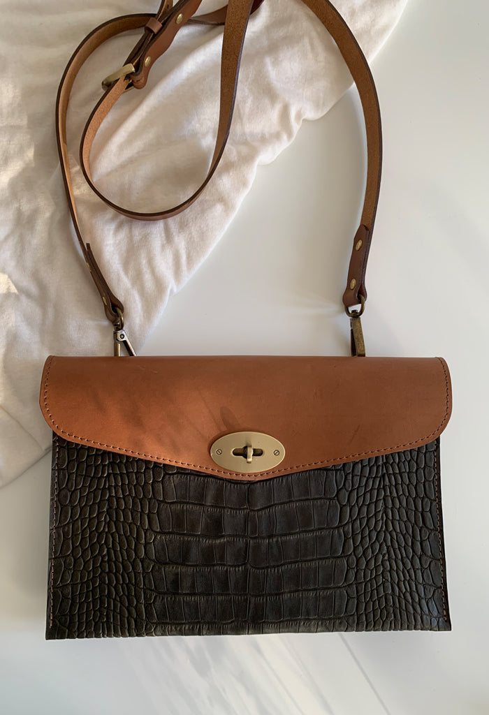 Tan Leather and Green Croc Crossbody Bag - Noted x Williams