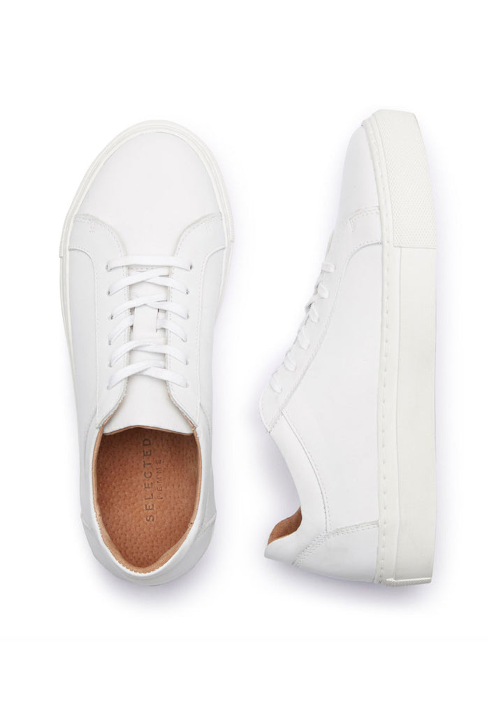 Selected Femme Donna sneaker white above and side view