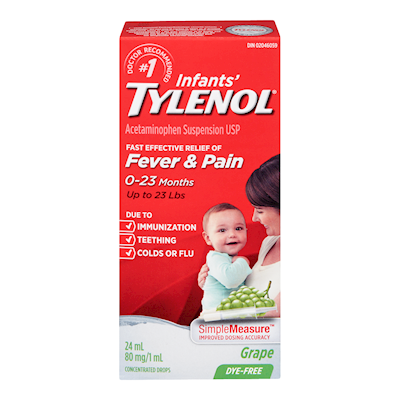 TYLENOL INF DYE FREE WHTE GRAPE 24ML