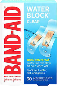 BAND-AID WATER BLOCK CLEAR      30'S