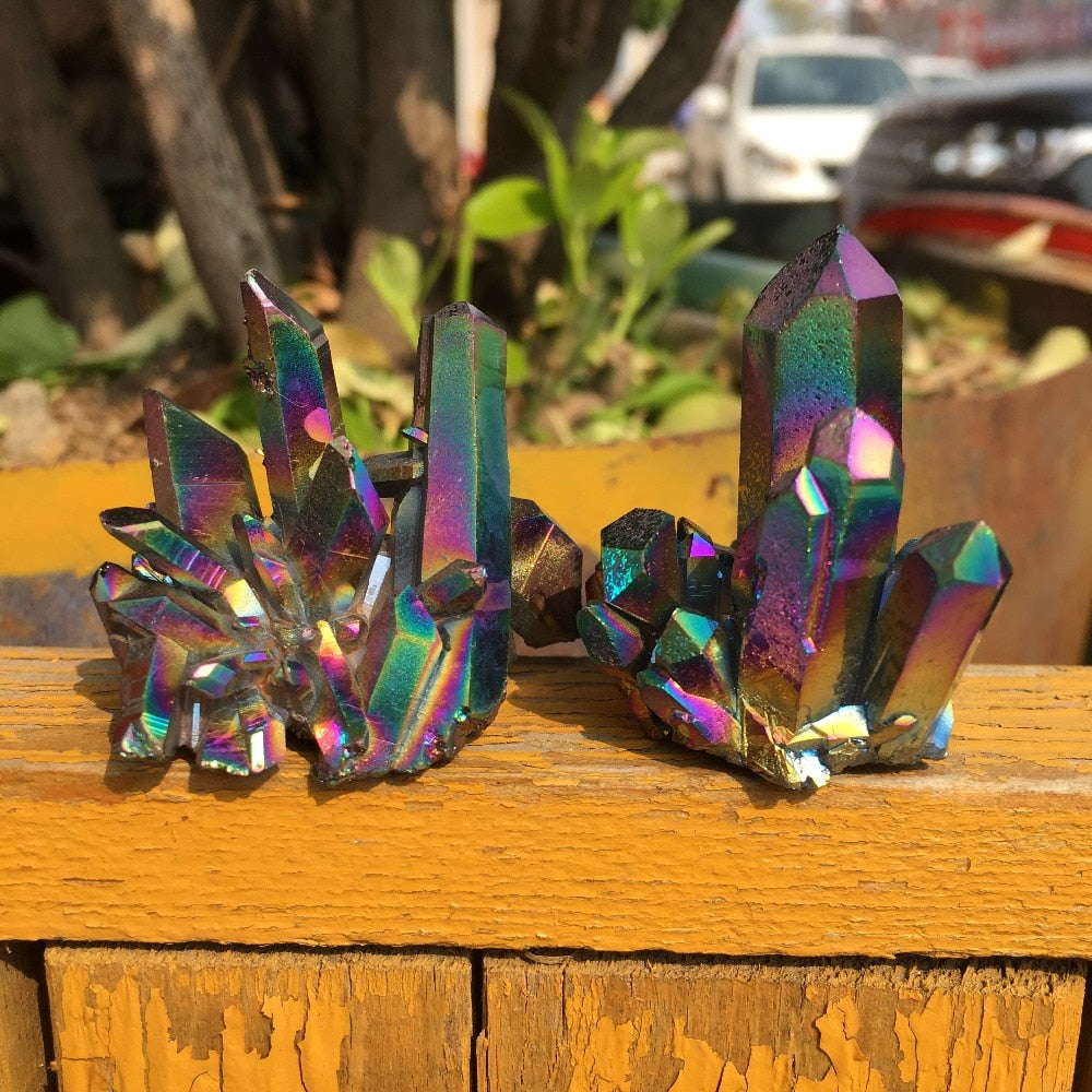 2pcs Aura Angel Crystal Clusters