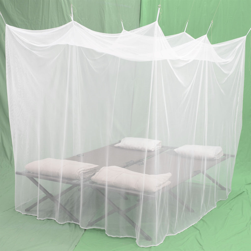 Cotmaster Rectangular White 196 Mesh Double Mosquito Net w/ Carry bag