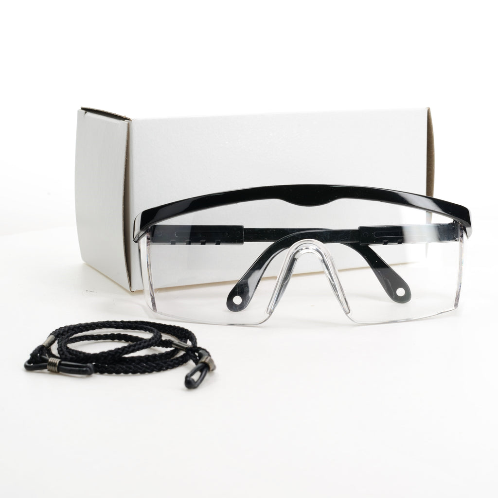 Safety Glasses displayed with box and neck cord