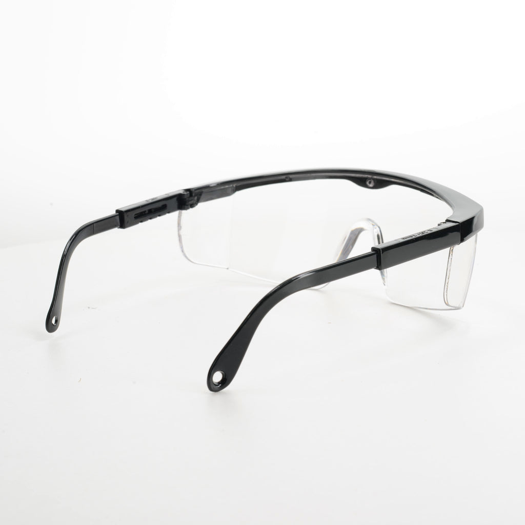 Safety glasses viewed from right rear side