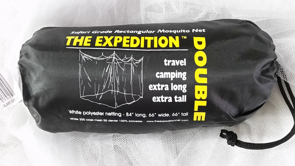 Expedition Double Rectangular White 196 mesh 50 DenierMosquito Net w/ Carry bag